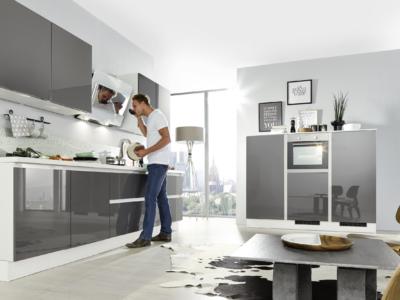 Lesklá moderní bezúchytová kuchyně Susann v šedé barvě